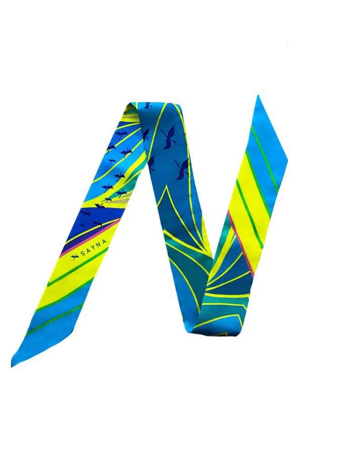 blue skinny twilly silk scarves
