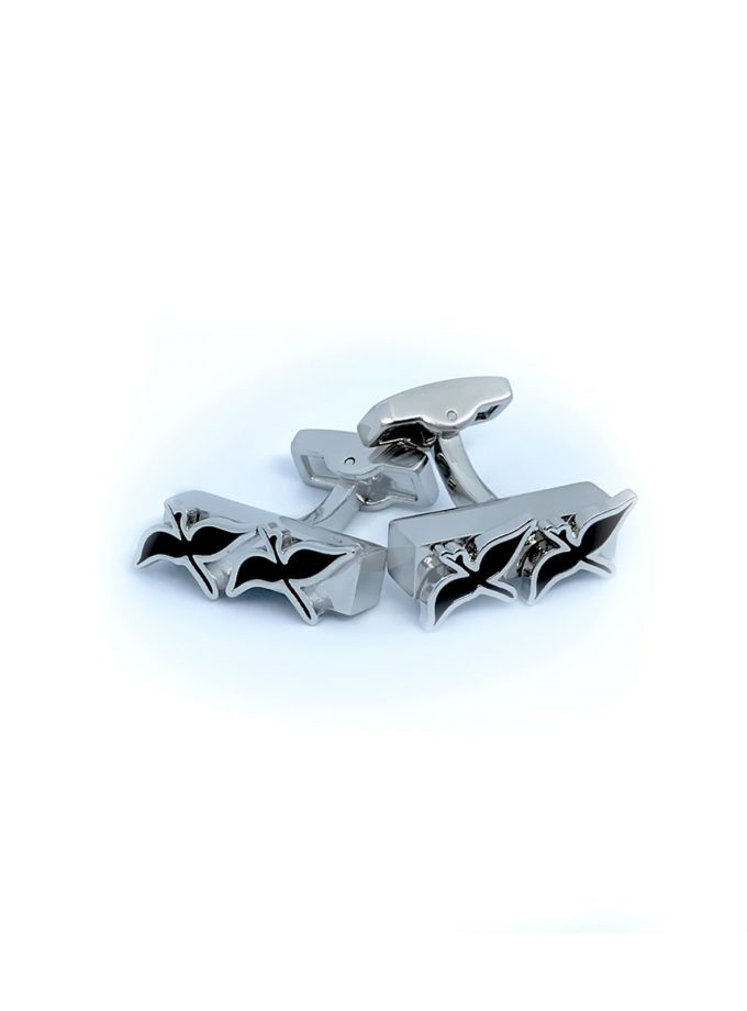 double bird cufflinks silver
