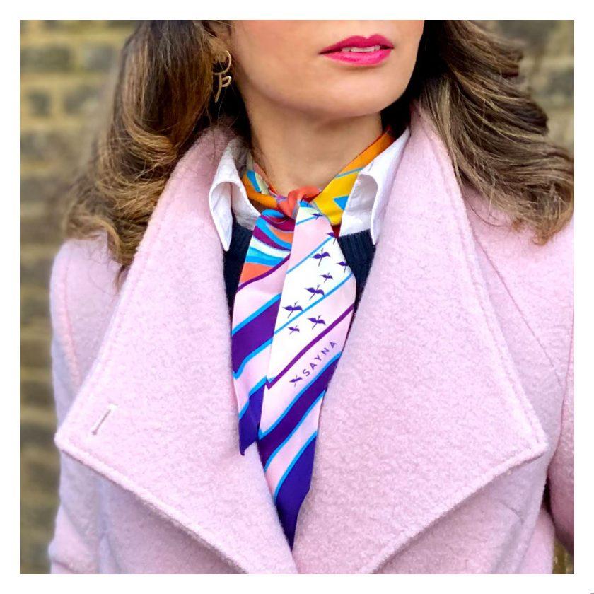 Purple skinny twilly silk scarf