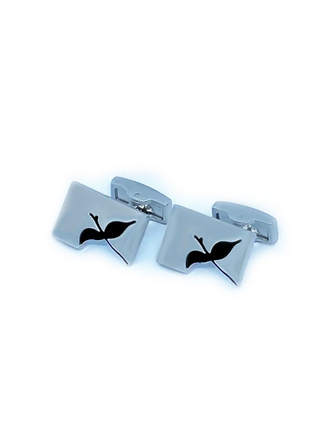 single bird cufflinks silver