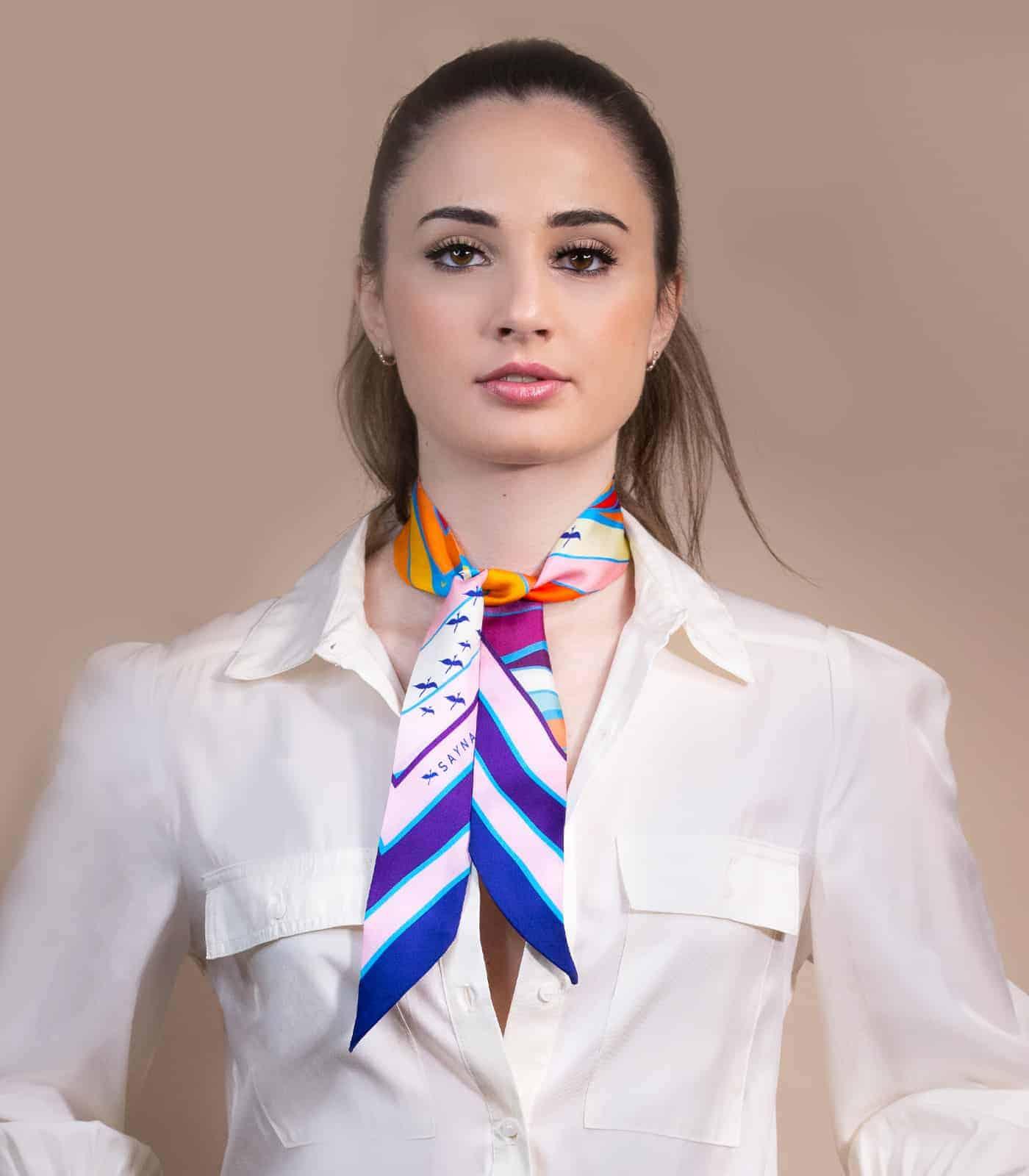 narrow twilly silk scarf