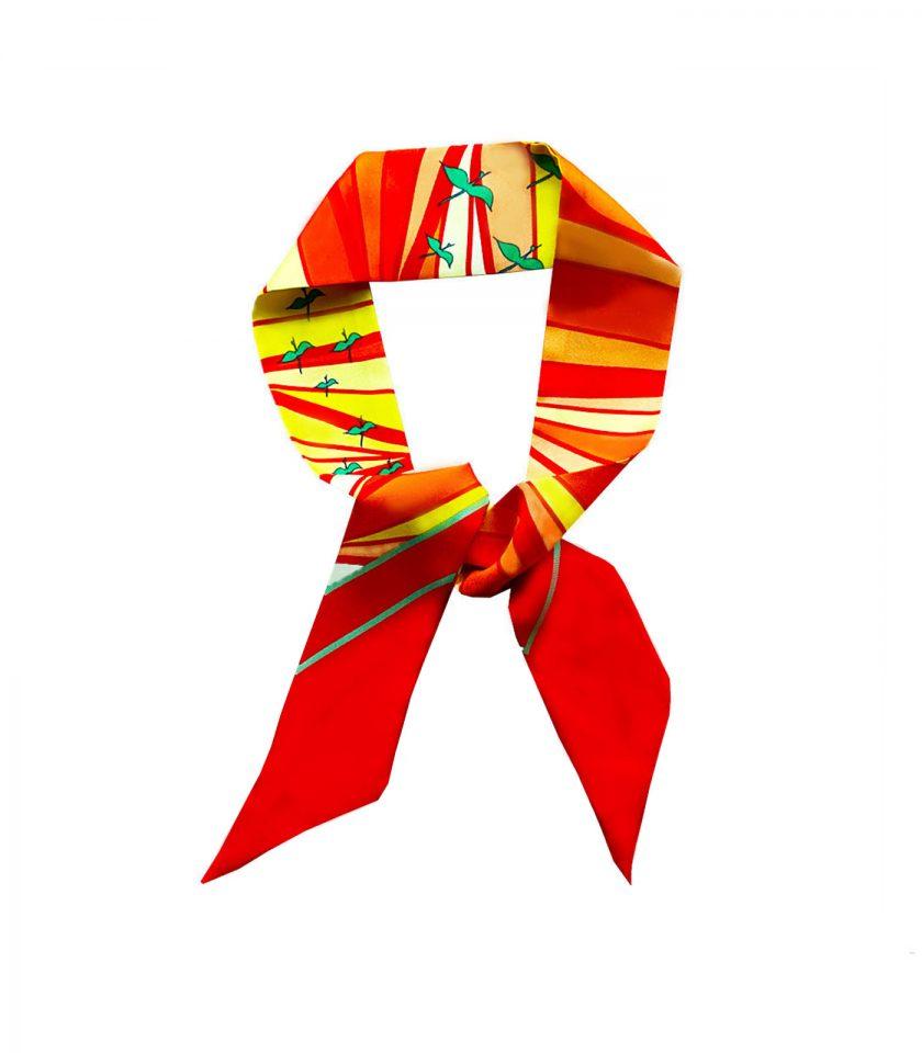 red skinny twilly silk scarf