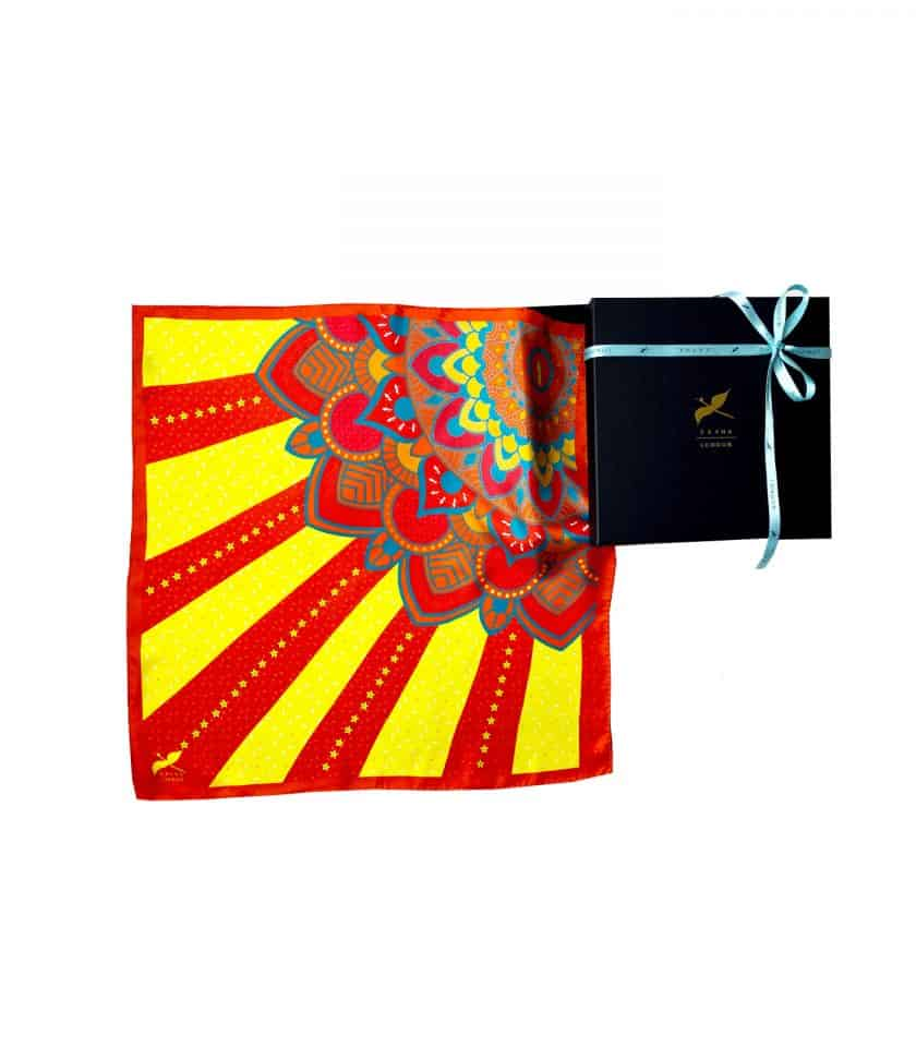 square silk scarf sun shine