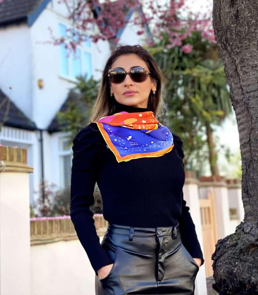 square silk scarves luxury silk scarves SAYNA LONDON accessories