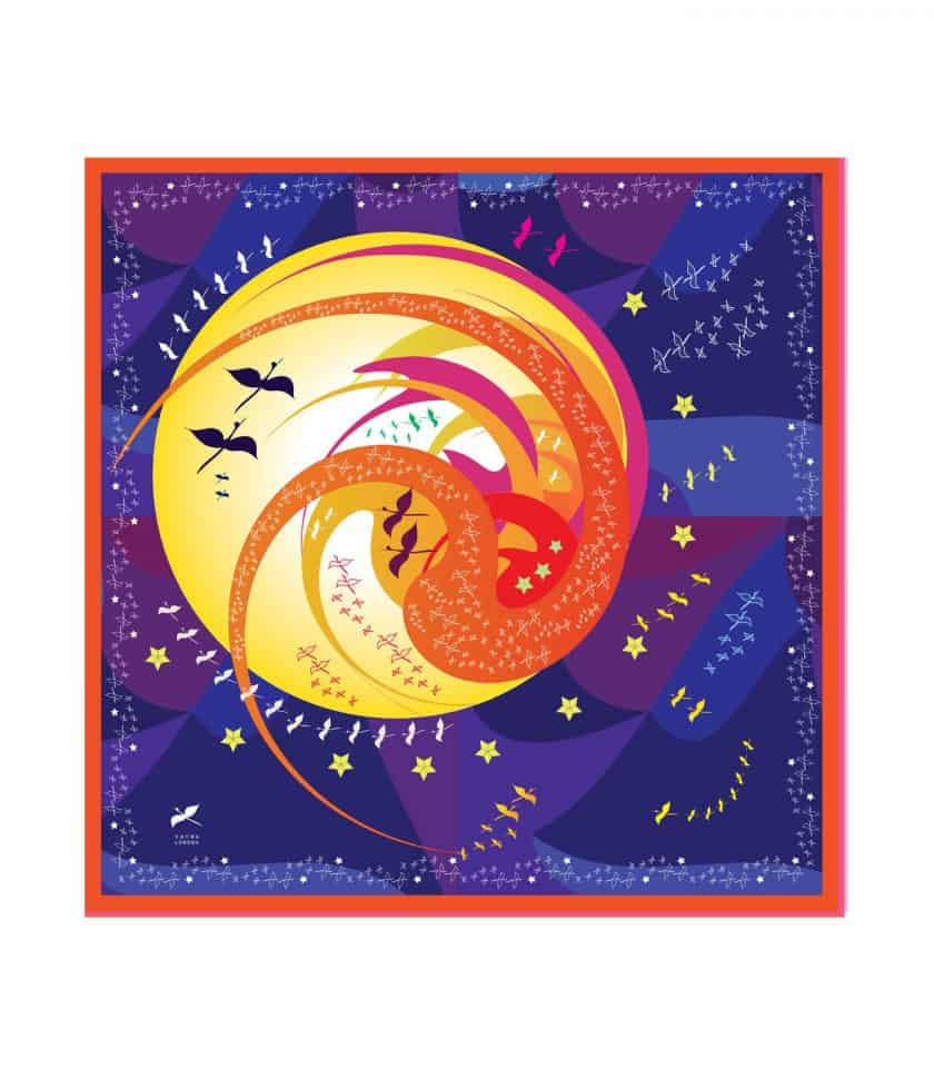 love you to the moon square silk scarf