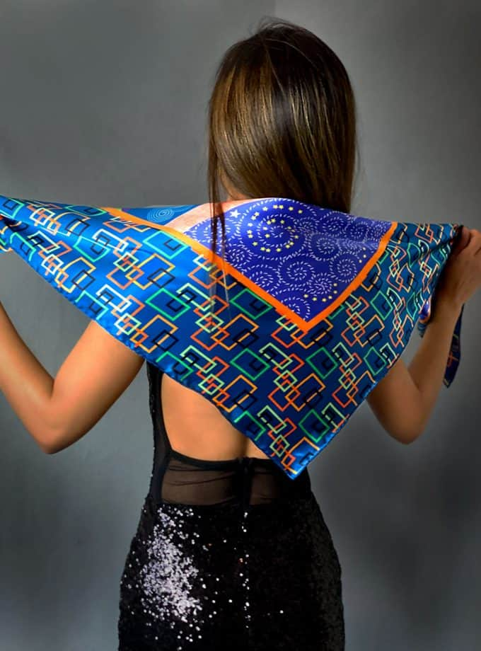 Magic Dream square silk scarf SAYNA LONDON LUXURY BRITISH BRAND