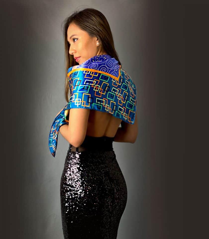 Magic Dream square silk scarf SAYNA LONDON LUXURY BRITISH BRAND