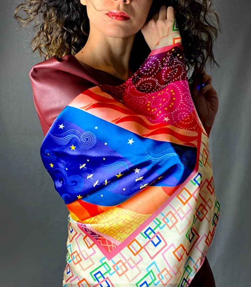 Magic Dream square silk scarf SAYNA LONDON BRITISH LUXURY SILK ACCESSORIES
