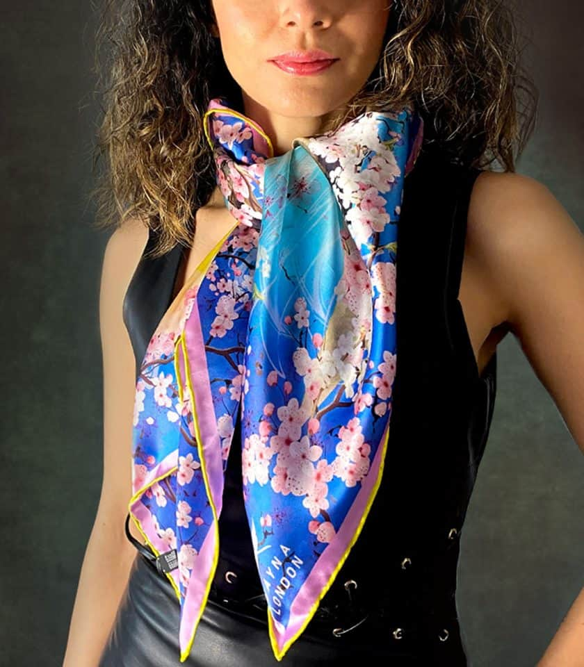 Kanku square silk scarf SAYNALONDON British Accessories brand