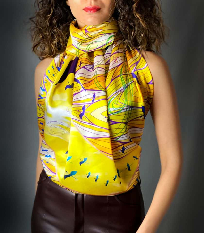 Rising wings square scarves SAYNA LONDON BRITISH LUXURY SILK ACCESSORIES