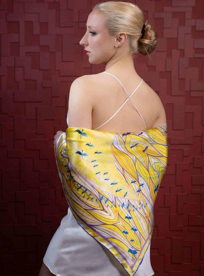 Luxury yellow silk scarf