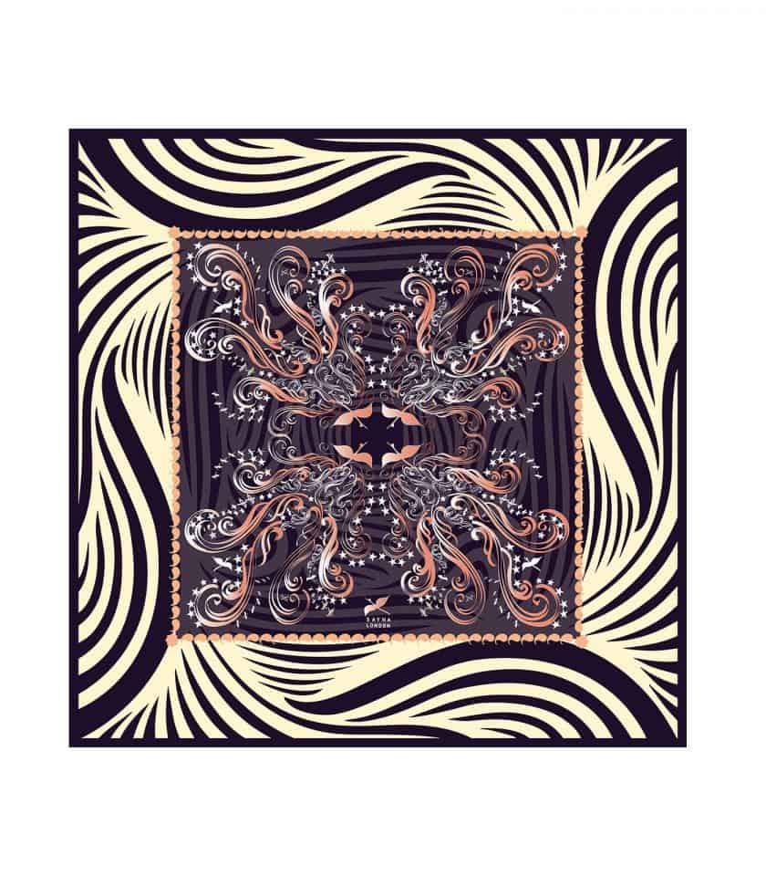 Four Phoenix silk scarf square